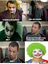 Eat A Snickers Meme - joker eat a snickers by recyclebin meme center