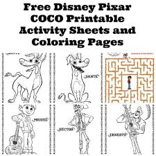 free disney pixar coco printable activity sheets and coloring