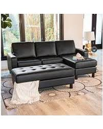 claire leather reversible sectional and ottoman sale brayden tufted leather reversible sectional and ottoman black