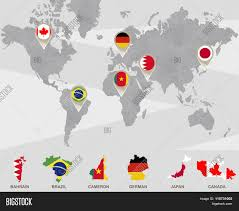 Canada World Map by World Map With Bahrain Brazil Cameron German Japan Canada