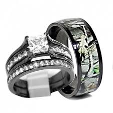 camouflage wedding rings his and hers 925 sterling silver titanium camo wedding rings set