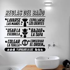 Home Decor Decals Aliexpress Com Buy Art Design Bathroom Rules In Spanish Kids