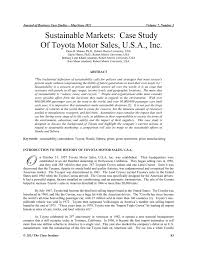 case study toyota hybrid synergy drive sustainable markets case study of toyota motor sales usa inc