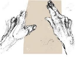 black and white hand drawn sketch of the hands of an old man