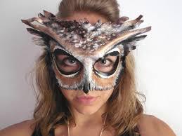 owl costume leather owl mask black or white owl mask