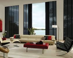 living room luxury modern window treartments decor with red