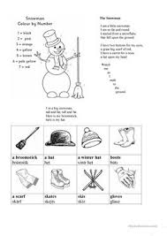 22 free esl snowman worksheets