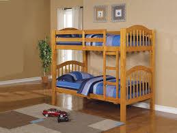 Honey Oak Bedroom Set Kids Bedroom With Brown Oak Wooden Bunk Bed And Plaid Pattern Rug
