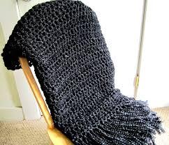 Fringe Home Decor by Throw Blanket Crocheted With Fringe Black Blanket Handmade