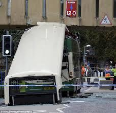 edinburgh bus crash double decker ploughs into bridge daily