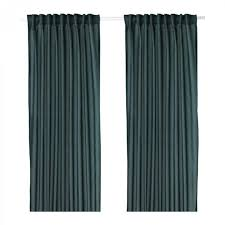 ikea vivan curtains drapes green blue 2 panels 98