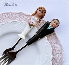 wedding cake toppers and groom personalized wedding cake topper and forks and groom polymer