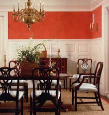 coral walls with white wainscoting living room inspiration