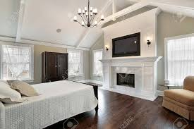 Sell Marble Fireplace Master Bedroom In Luxury Home With Marble Fireplace Stock Photo