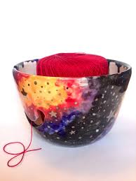 wheel theown and hand painted ceramic pottery yarn bowl for