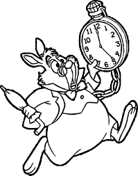 alice in the wonderland hour running bunny coloring page