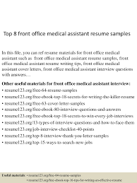 dental front office cover letter top8frontofficemedicalassistantresumesamples 150512232906 lva1 app6891 thumbnail 4 jpg cb u003d1431473392