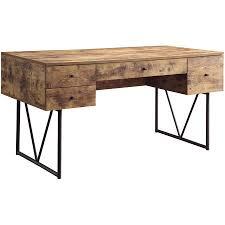 Plank Desk Coaster Antique Nutmeg 4 Drawer Computer Desk Walmart Com