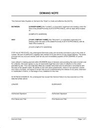 demand to pay promissory note template u0026 sample form biztree com