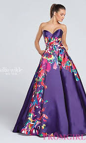 floral print long prom dress with pockets at promgirl com