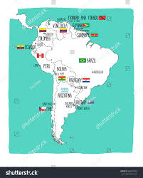 Bogota Colombia Map South America by Hand Drawn Vector Map South America Stock Vector 684572290