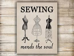 Sewing Room Decor Printable Art Sewing Mends The Soul Wall Art Sewing Wall Decor