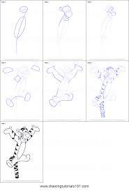 draw tigger winnie pooh printable step step