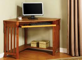 corner desk small oak computer desk in brown varnished modern