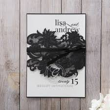 Wedding Invitations With Ribbon Black Lace With Ribbon Invitation Coloured Insert