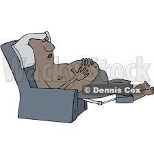 Sleeping In A Chair Of A Cartoon Shirtless Chubby Black Man Sleeping In A Recliner