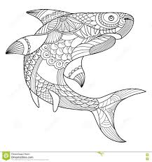shark coloring book for adults vector stock vector image 80183622