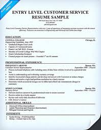 Sample Customer Service Resumes Resume For Customer Service Representative Entry Level Customer