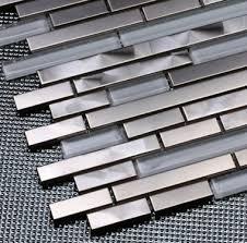 Crystal White Glass Mosaic Kitchen Wall Tile Backsplash SSMT - Stainless steel tile backsplash