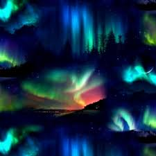 cotton fabric nature fabric landscape medley northern lights