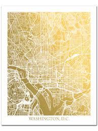 Map Washington Dc Washington D C Map Gold Foil Map Washington Dc Print Gold