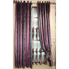 purple floral embroidery luxury velvet thermal window curtains
