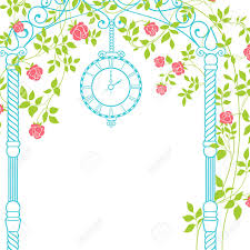 wedding arch leaves wedding arch with roses and leaves on the greeting card vector