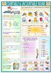 english teaching worksheets countable and uncountable nouns