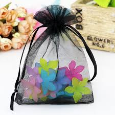 tulle bags 5x7cm black organza bags small drawstring pouches promotional