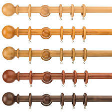 Chunky Wooden Curtain Poles Pine Curtain Poles And Finials Ebay