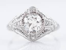 antique engagement ring art deco 98 old european cut diamond in
