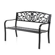 Steel Patio Chairs Ikayaa 3 Seater Wood Steel Outdoor Patio Park Garden Bench