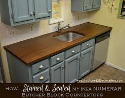 how to stain and seal unfinished cabinets how i stained sealed my butcher block countertops