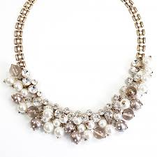 pearl necklace with crystals images Cluster pearl bib crystal and pearl bauble necklace by jpg