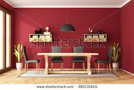 red dining room rustic table modern stock illustration 380131645