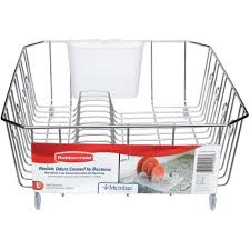 Dishes Rack Drainer Rubbermaid Large Chrome Antimicrobial Dish Drainer Fg6032archrom