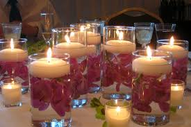 decorations purple lily in watered glass candle design ideas for