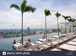 people enjoying the infinity pool at the marina bay sands hotel in