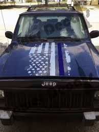 matte navy blue jeep distressed american flag thin blue line police hood decal