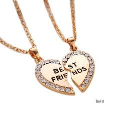 friend necklace images 1 set best friend necklace pendant heart silver rhinestone bff jpg